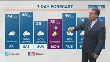 7-day forecast: Rain throughout Thursday