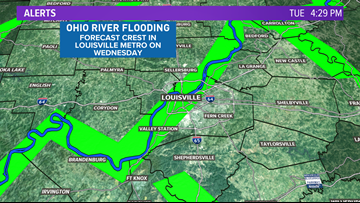 The Ohio River is expected to crest in the Louisville area into the mid-week