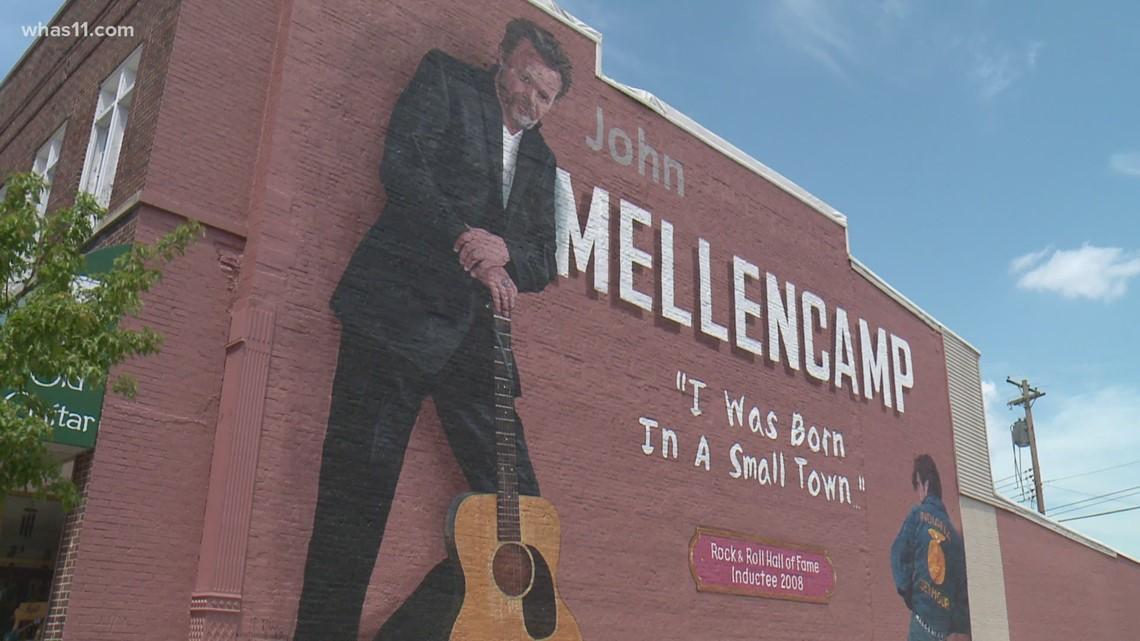 'I was born in a small town': Greenspace opens in front of the John Mellencamp mural in Southern Indiana
