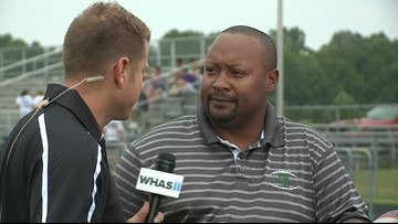 Kent talks with South Oldham football coach at HS GameTime
