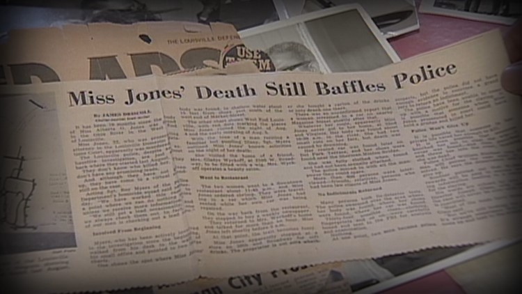 A newspaper headline in the Courier-Journal covering the death of Alberta Jones.