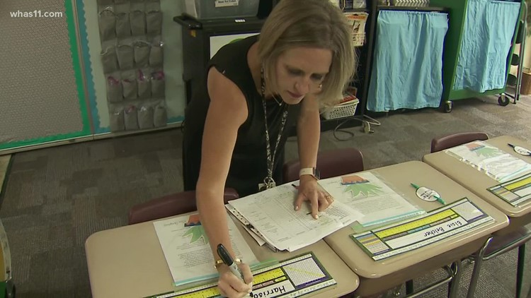 New Albany Floyd County teacher surprised with gift on first day of class