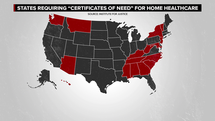 Certificate of need map