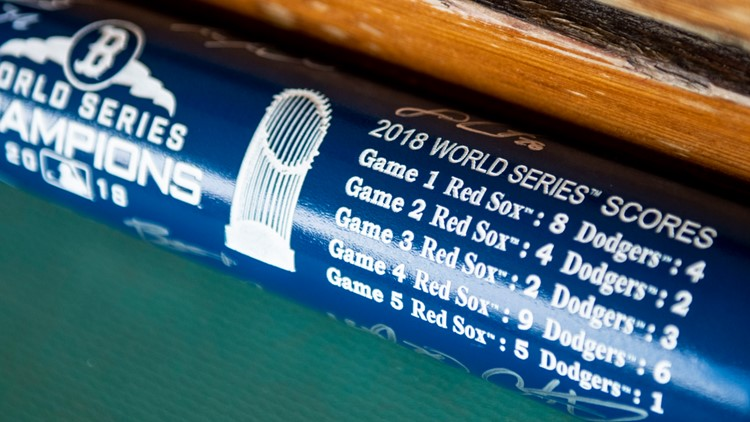 Louisville Slugger Red Sox World Series autographed bat close up