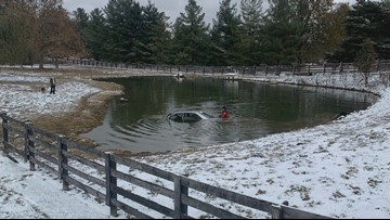Woman jumps in, saves man as car sinks in freezing Floyd County pond