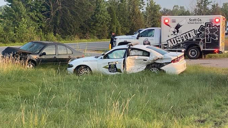 ISP trooper recovering after car on trailer comes loose, crashes into cruiser