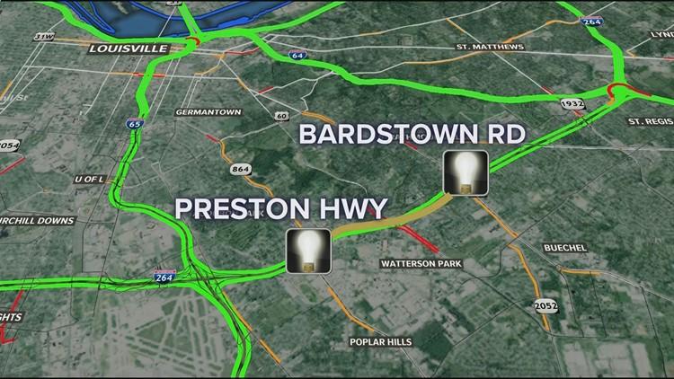 Watterson Expressway lighting map 2
