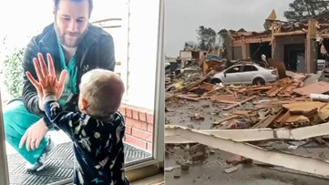 Days after taking viral photo with son, doctor's house destroyed by tornado in Arkansas