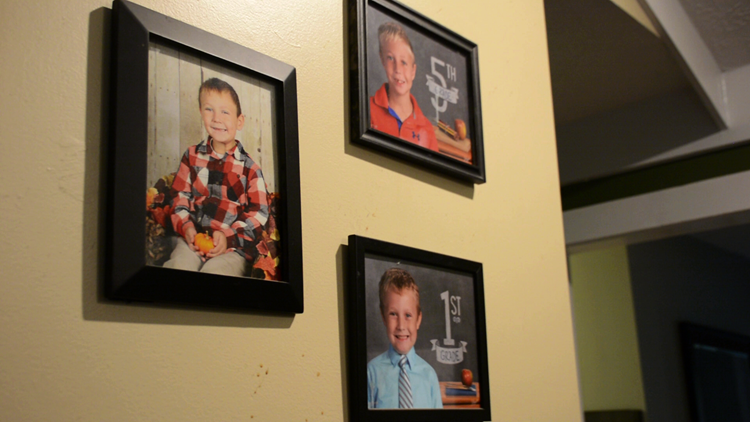 Family photos on wall