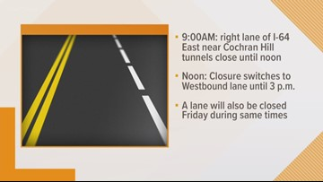 Closures on I-64 scheduled for Cochran Hill Tunnel cleaning