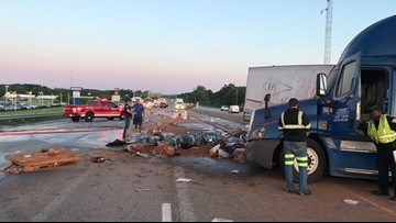 Crash spills cocoa powder, batteries on freeway in Indiana