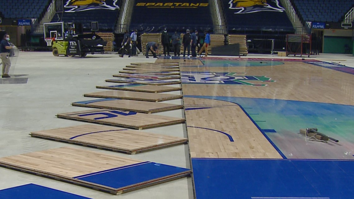 RAW: Women's ACC Tournament floor installed