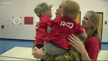 Soldier surprised 4-year-old son at school
