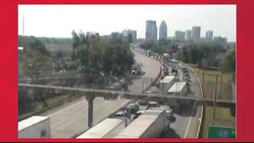 Left lane of I-64E blocked after crash near 3rd Street exit
