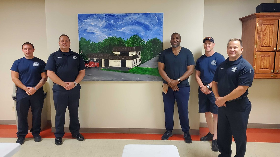 Louisville artist shares painting with fire department that saved his family
