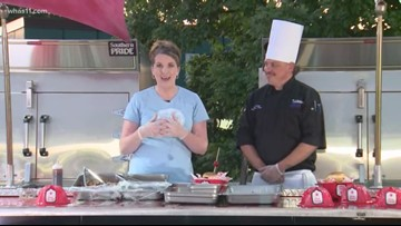 Cooking up a brisket sandwich at the Kentucky State Fair