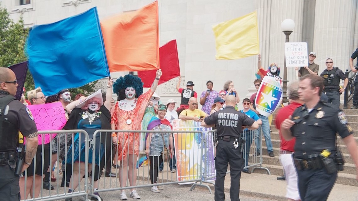 Protestors, counterprotestors clash outside library for Drag Queen Story Time