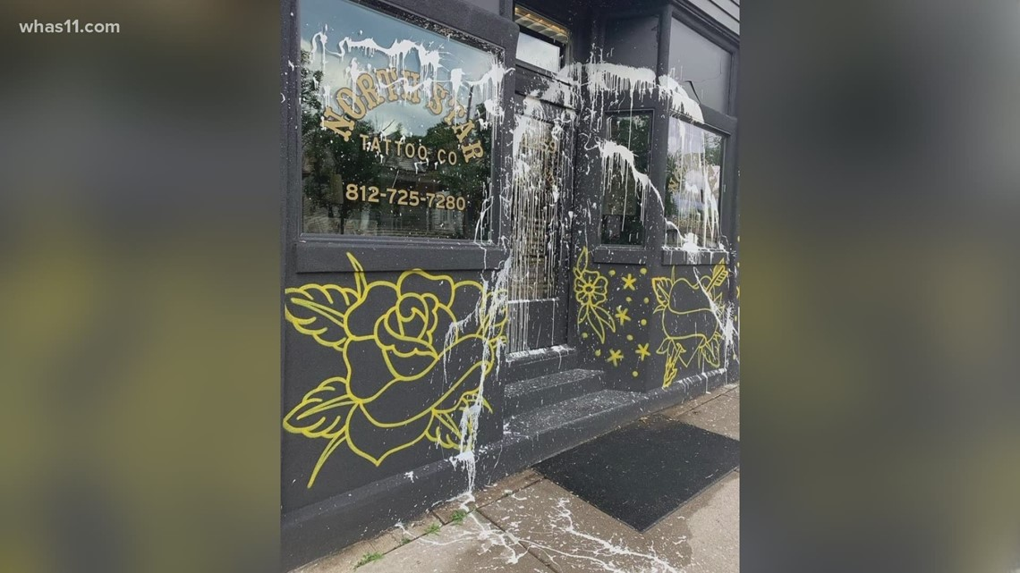 New Albany tattoo shop vandalized, video captured possible suspecyt