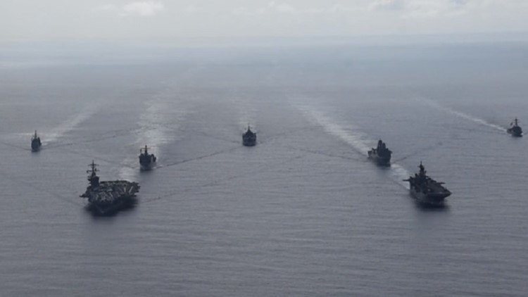 US Ships: Theodore Roosevelt Carrier Strike Group, the America Expeditionary Strike Group and the USS Blue Ridge