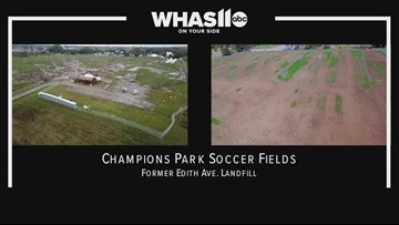 Drone video of damage to site of former landfill