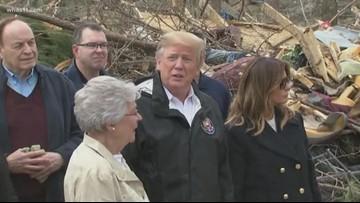 President Donald Trump tours tornado damage in Alabama