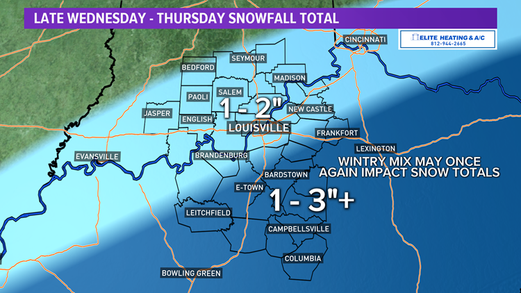 A second round of wintry weather this week takes aim at Kentuckiana