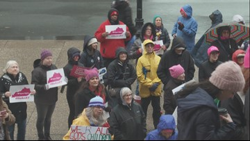Women's rights supporters gather downtown as part of nationwide rally