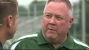 Kent talks with Athletic Director of South Oldham at HS GameTime