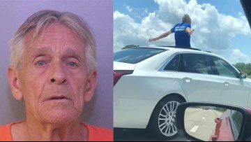Florida man driving Cadillac from sunroof says he'd rather go to jail than back to his wife