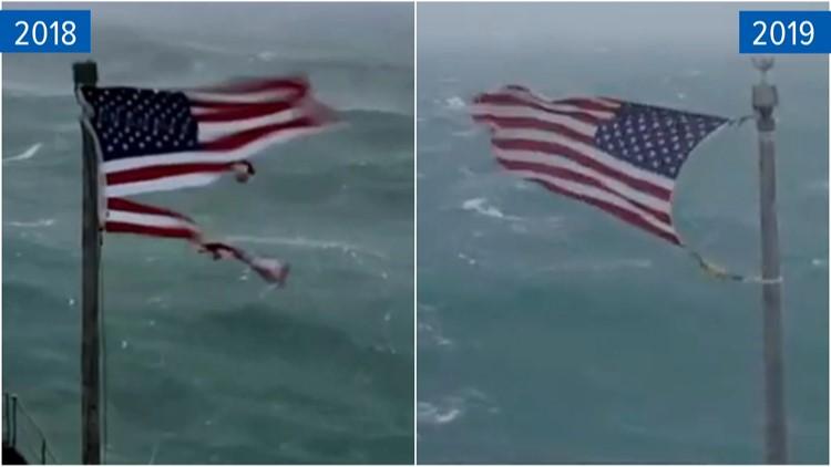 Frying Pan Tower Selling Flag Flown During Hurricane