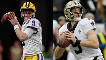 Brees, Burrow meet during LSU's practice at Saints facility