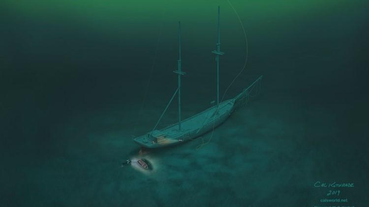 Cal Kothrade's digital artwork of the W.C. Kimball on the lake bottom.