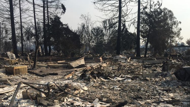 Joe Laub's burnt home after the California wildfires got to it in 2017.