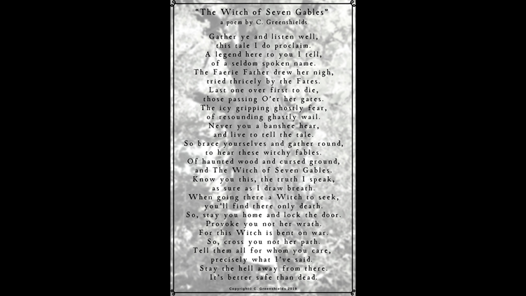 Christopher Greenshield's poem about Seven Gables Road.