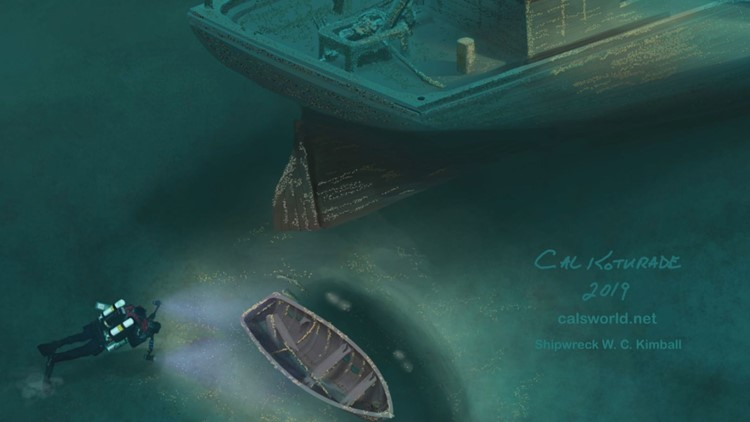 Cal Kothrade's digital artwork of the W.C. Kimball wreck site.